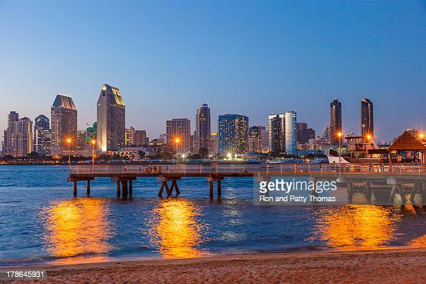 City skyline of San Diego, California at night