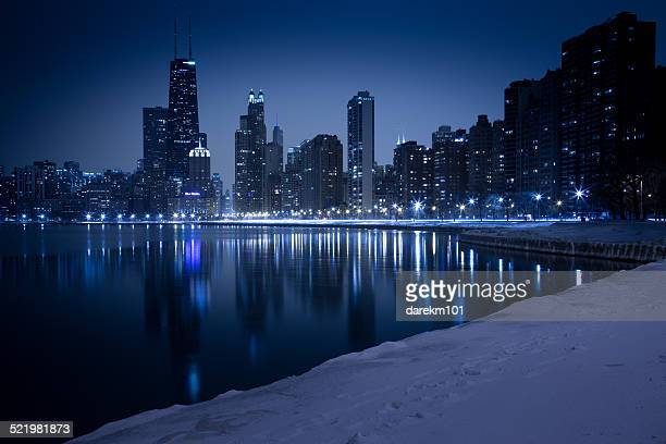 City skyline seen from North Avenue Beach, Chicago, Illinois, America, USA