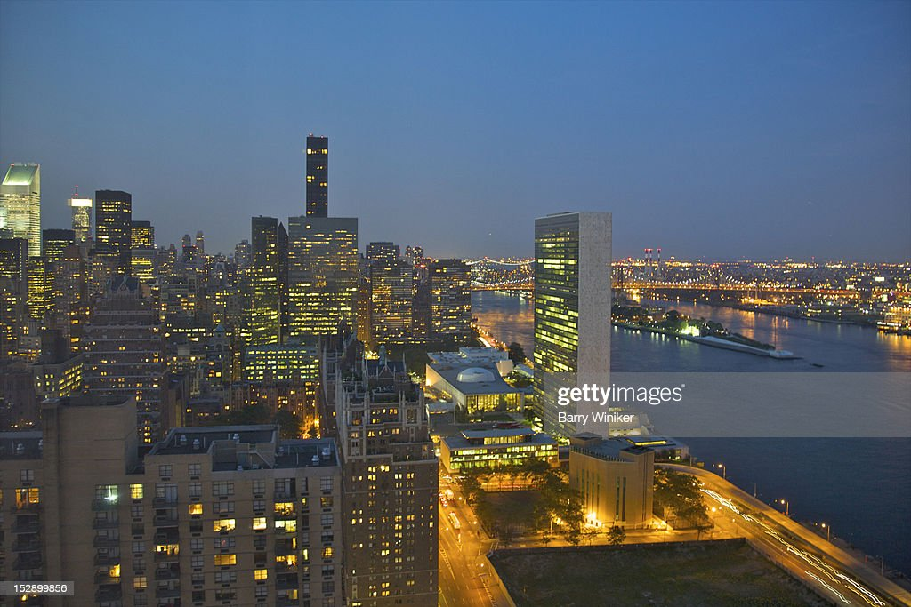City skyline view with UN at dusk. : Stock Photo