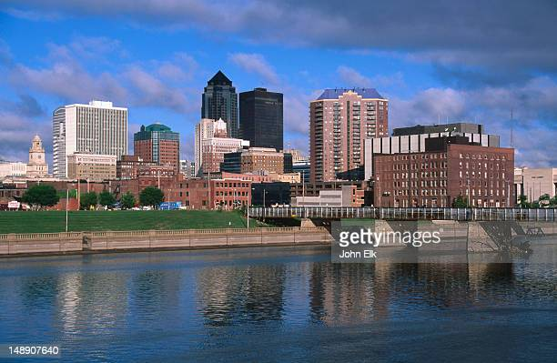 City skyline with Des Moines River.
