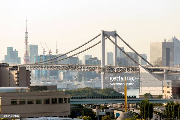 City skyline with Rainbow bridge and Tokyo Tower, Tokyo, Kanto region, Japan