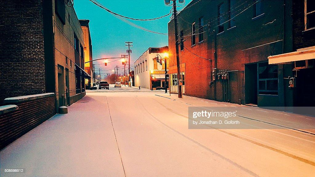 City Snow Covered Street : Foto de stock
