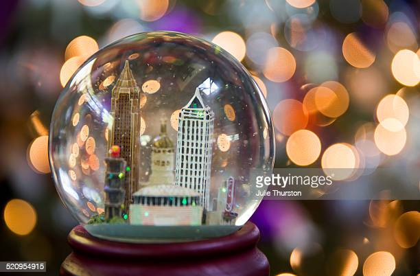 City Snow Globe Purple Christmas Tree Lights