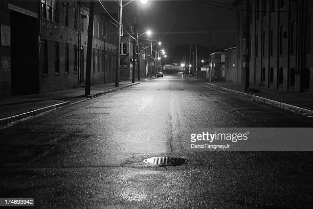 Rue ville en noir et blanc