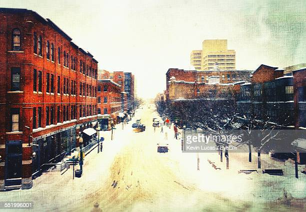 City Street Covered With Snow In Winter Season