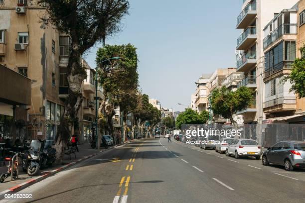 City street on a sunny day in Tel Aviv, Israel
