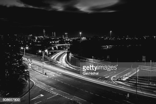 city streets at night long exposure : Stock Photo