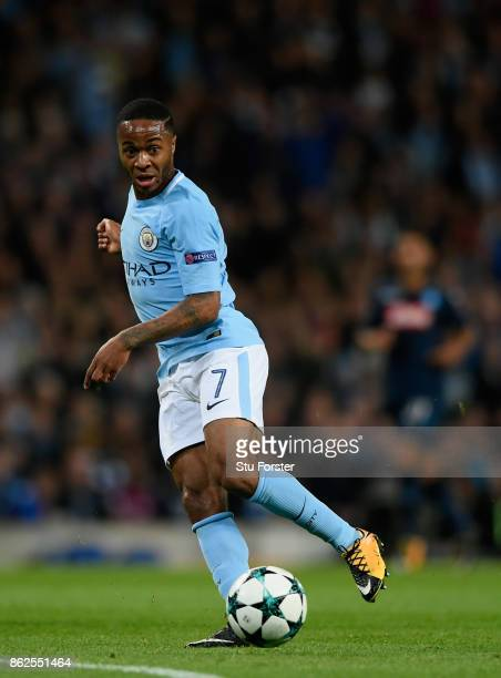 City striker Raheem Sterling in action during the UEFA Champions League group F match between Manchester City and SSC Napoli at Etihad Stadium on...