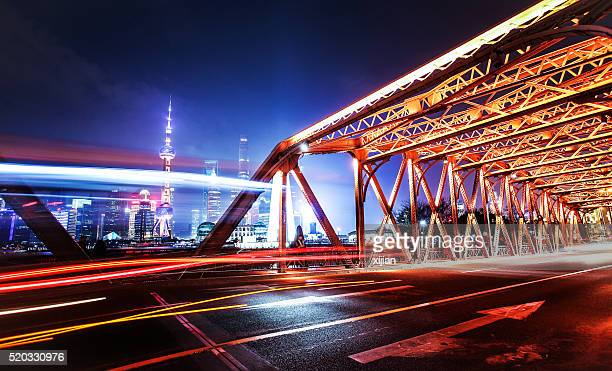 City traffic at night in shanghai
