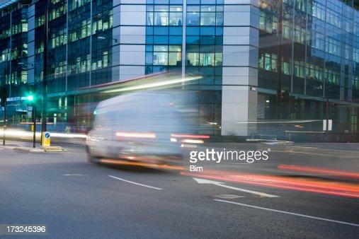 City traffic at night, London, England