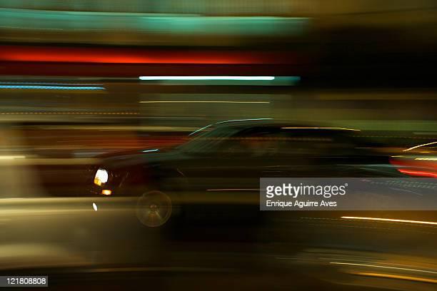 City traffic at night, San Francisco, USA