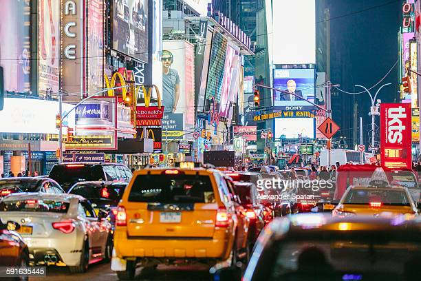 City traffic at Times Square, New York, USA