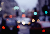 City traffic lights at dusk, defocused