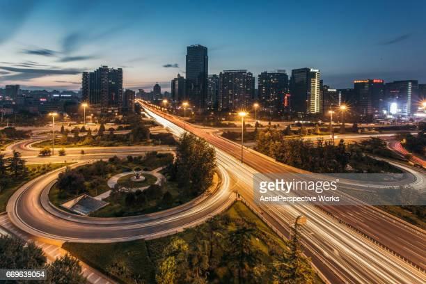 City Traffic of Beijing at Dusk