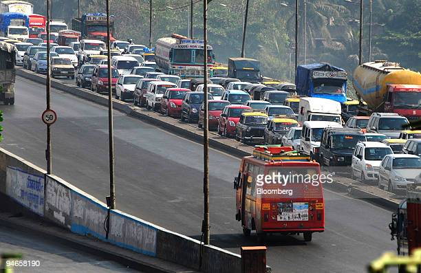 City traffic on a highway in Mumbai India on Thursday Nov 29 2007 India's economy grew last quarter at the slowest pace since 2006 signaling the...