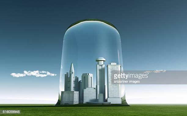 City under a clear glass cover