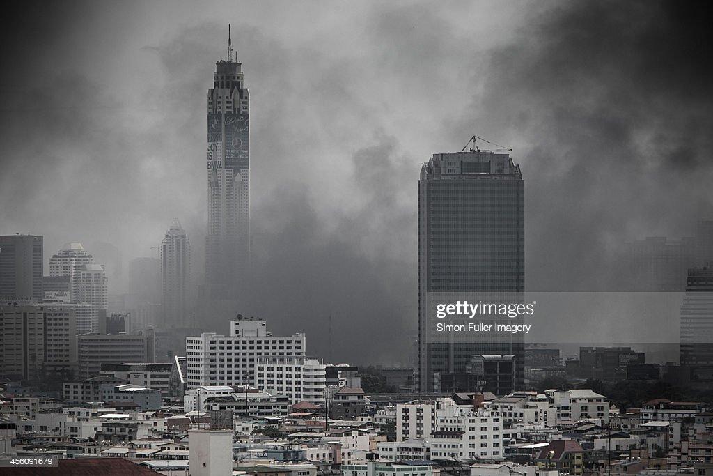 City under siege : Stock Photo