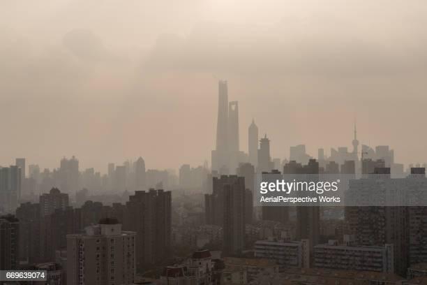 上海大気汚染包囲下市