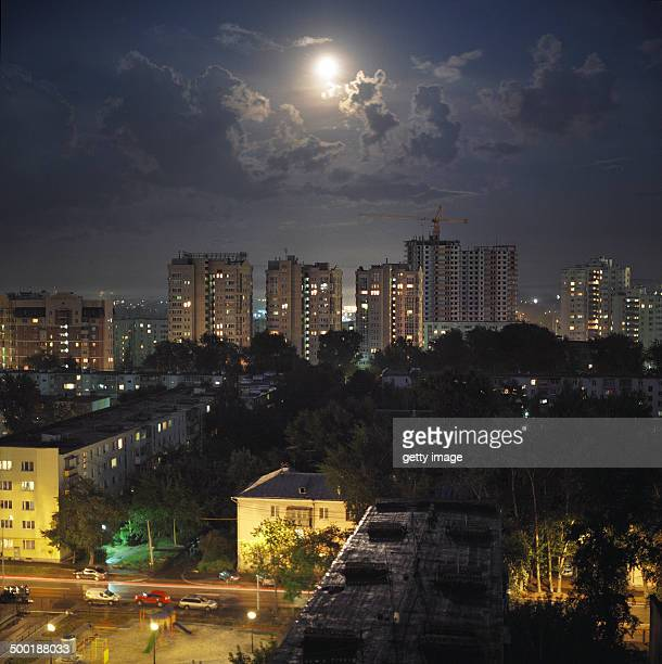City under the moonlight