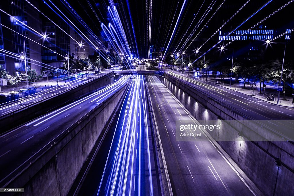 City view at night with traffic and trail light. : Stock Photo