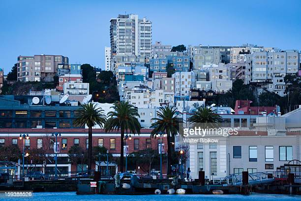 City view with Russian Hill, dawn.