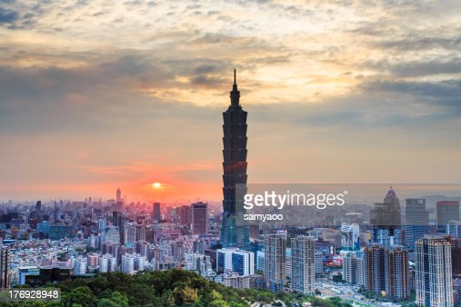 City view with Taipei 101 during sunset