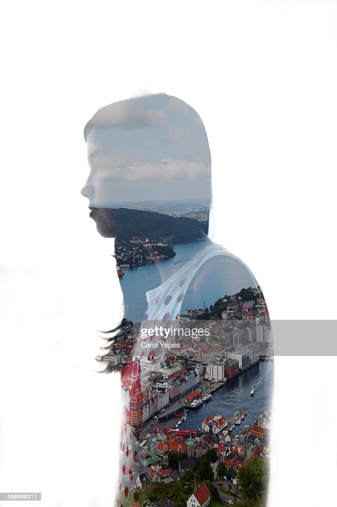 city woman, double exposure