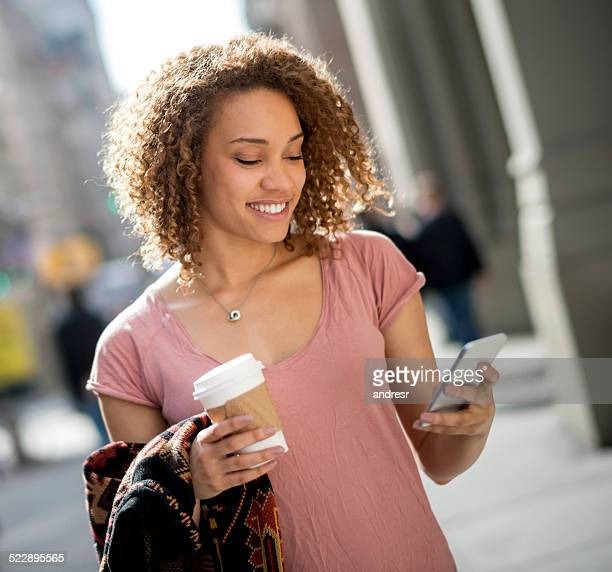 City woman texting