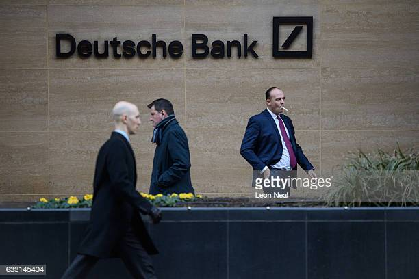 City workers leave the Deutsche Bank offices in the financial district also known as the Square Mile on January 24 2017 in London England Following...