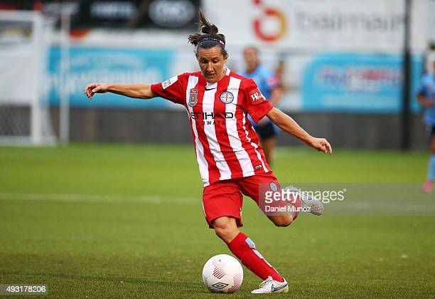 City's Lisa de Vanna controls the ball during the round one WLeague match between Sydney FC and Melbourne City FC at Lambert Park on October 18 2015...
