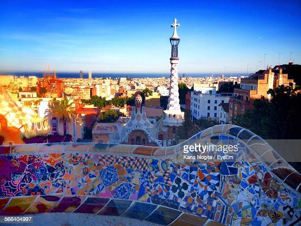 Cityscape Against Blue Sky At Park Guell