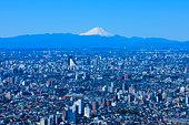 Cityscape and Mt Fuji in distance. Tokyo Prefecture, Japan