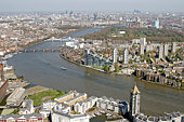Cityscape and river Thames, aerial view
