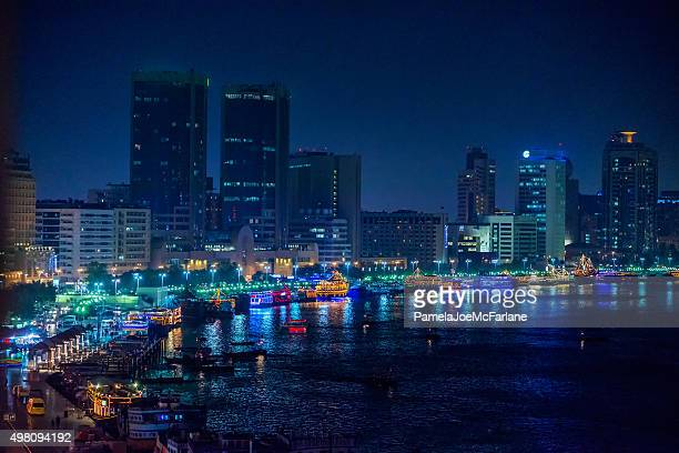 Cityscape and Skyline of Dubai Creek Waterfront at Night, UAE