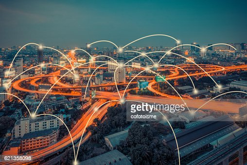 cityscape and technology and network connection concept : Foto stock