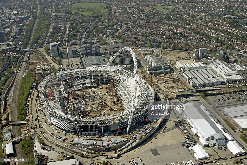 Cityscape And Wembley Stadium Under Construction Stock