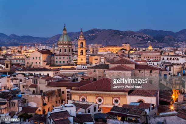 Cityscape at dawn, Palermo, Sicily, Italy