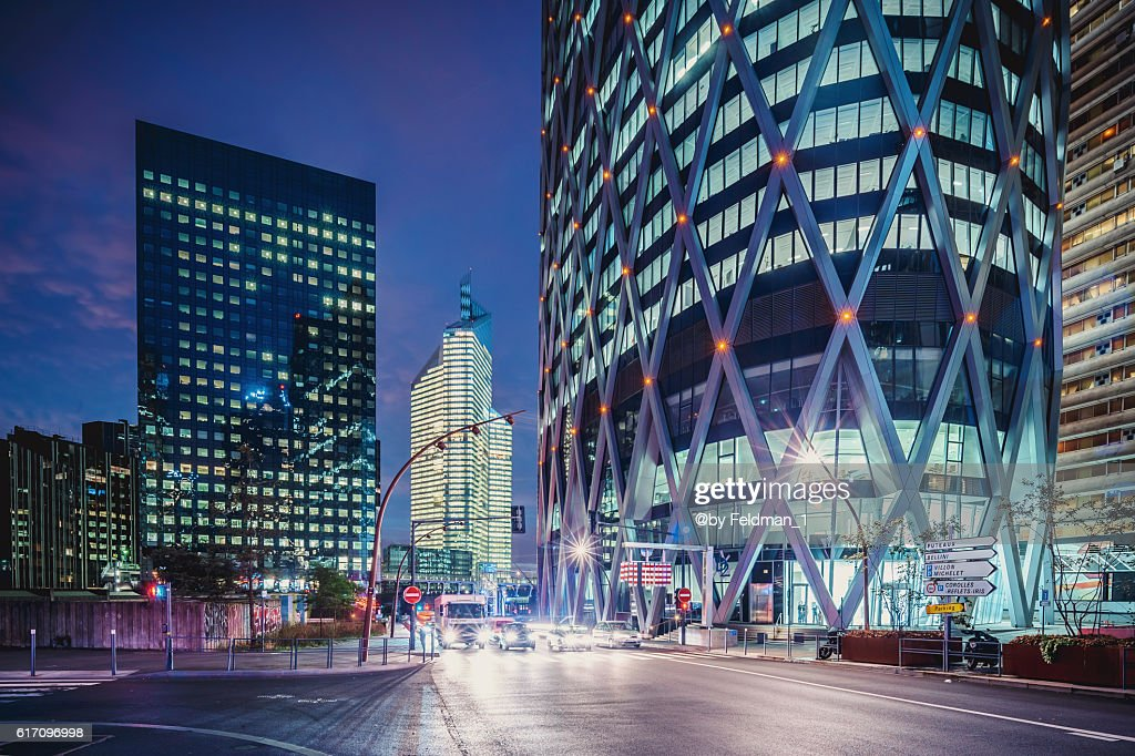Cityscape at early morning in La Defense, Paris, France : Stock Photo