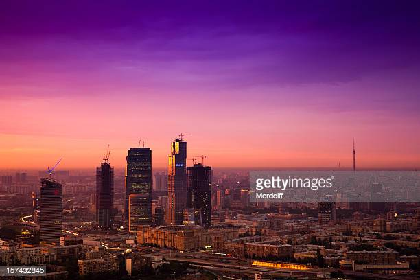 Cityscape at sunset. Aerial view