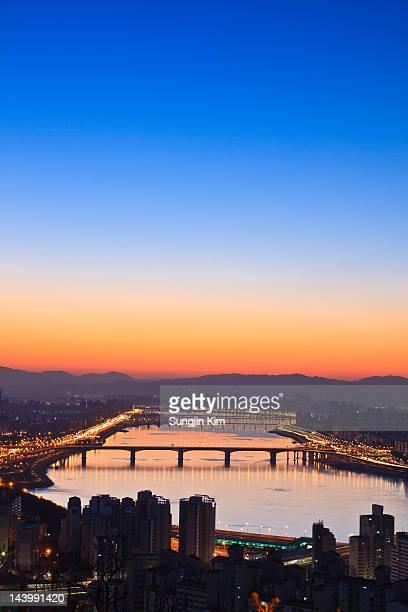 Cityscape before sunrise