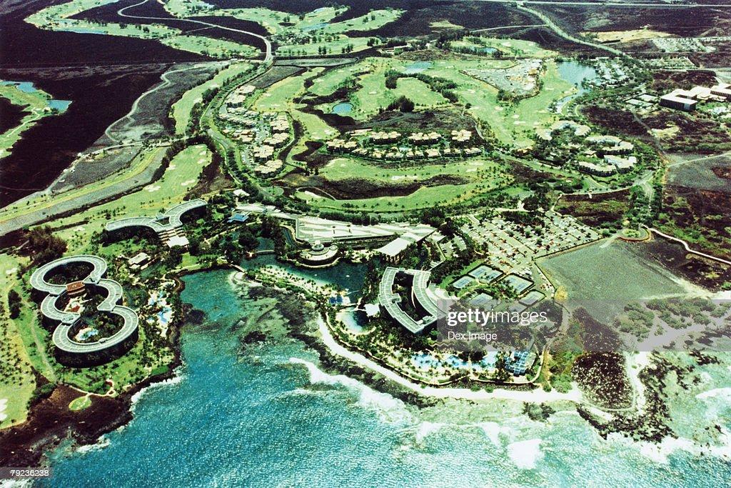 Cityscape coastline of Big Island, Hawaii, aerial view : Stock Photo