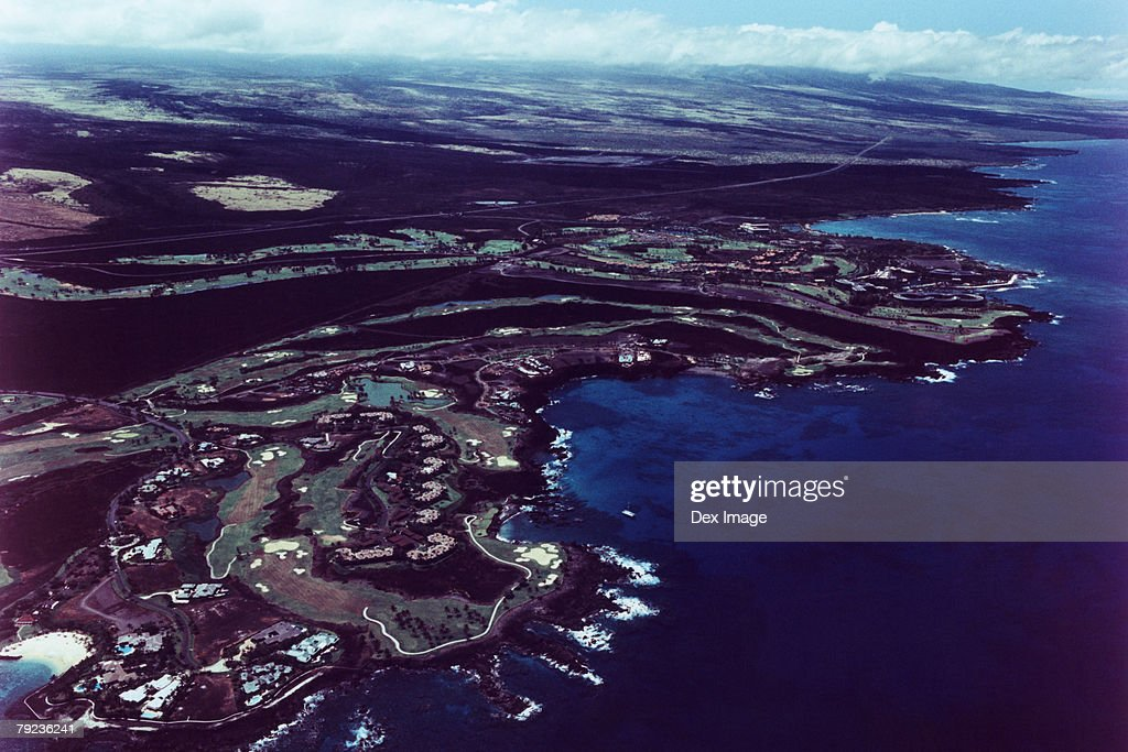 Cityscape coastline of Big Island, Hawaii, aerial view : Stock Photo