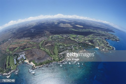 Cityscape coastline of Big Island, Hawaii, fisheye view : Stock Photo