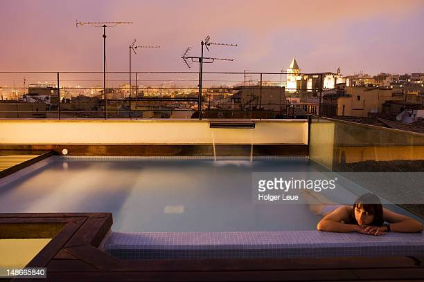 Cityscape from rooftop swimming pool of Hotel Tres
