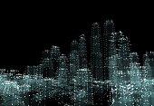 Cityscape futuristic 3d city neon light. 3d illustration. Black background