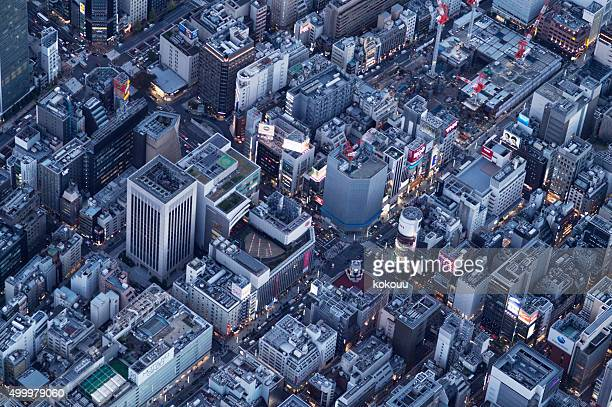 街並みの高層ビル、空から見た裏張り