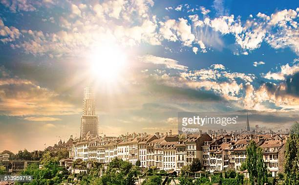 Cityscape in city of Bern, capital of Switzerland in sunset