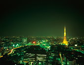 Cityscape in the night, long exposure, Tokyo prefecture, Japan
