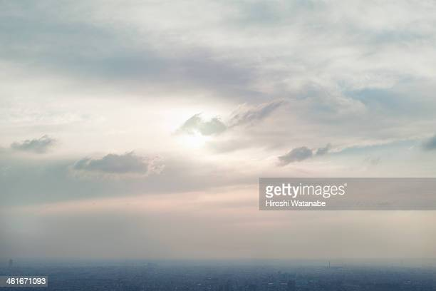 Cityscape in Tokyo at sunset elevated view