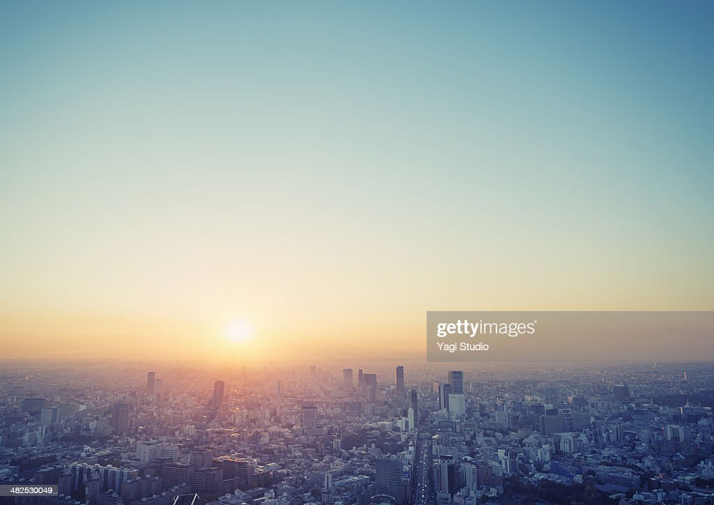 Cityscape in Tokyo at sunset elevated view : Stock Photo